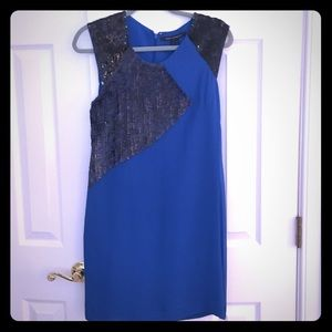 French Connection blue and black sequin dress